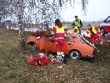 obrázek ke článku: Zdemolovaná Škodovka po nárazu do stromu u Obědovic